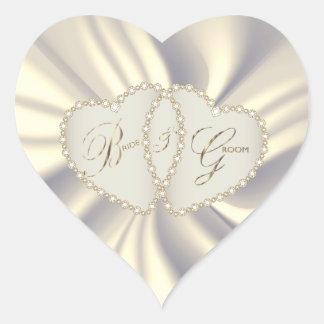 Off White Satin Bride & Groom | Dual Hearts Heart Sticker