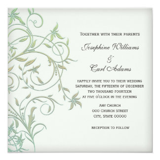 Off White with Green Vines Wedding Invites