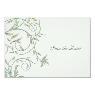 Off White with Green Vines Wedding Save the Date 3.5x5 Paper Invitation Card