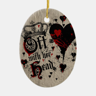 Off With Her Head Double-Sided Oval Ceramic Christmas Ornament