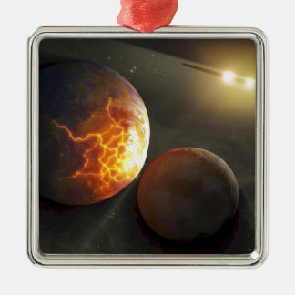 Off-World Planetary Crash Illustration Ornament