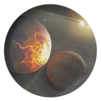 Off-World Planetary Crash Illustration Dinner Plates