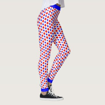 USA Themed Offbeat Distorted Red and  Blue Stars Leggings