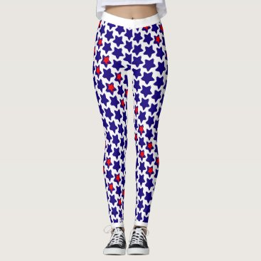 USA Themed Offbeat Distorted Red White Blue Stars Leggings