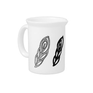 Offbeat Peacock line drawing design Pitcher