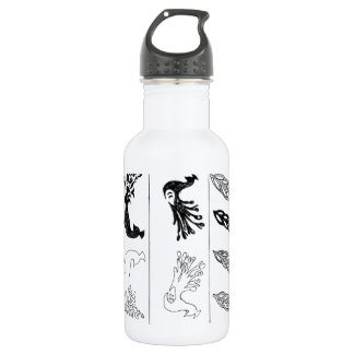 Offbeat Peacock line drawing design Water Bottle