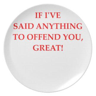 offend dinner plate