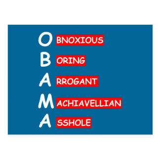 Offensive,insulting anti Obama Post Card