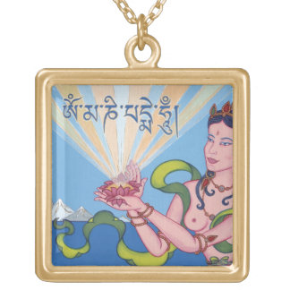 Offering Goddess with mantra OM MANI PADME HUM Square Pendant Necklace