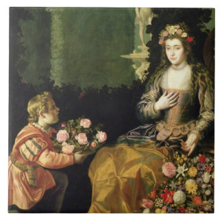 Offering to Flora, 1627 (oil on canvas) Large Square Tile