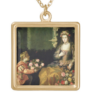 Offering to Flora, 1627 (oil on canvas) Square Pendant Necklace