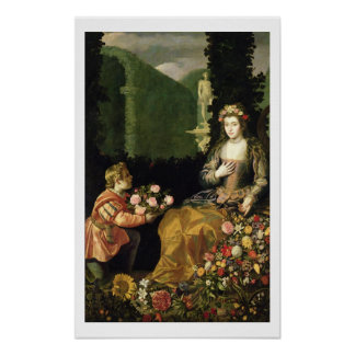 Offering to Flora, 1627 (oil on canvas) Poster