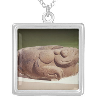 Offering vessel in the form of a giant toad, silver plated necklace