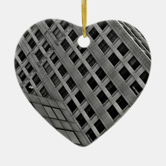 Office architecture on the diagonal Double-Sided heart ceramic christmas ornament
