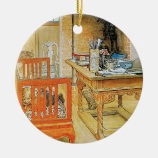 Office Bench Double-Sided Ceramic Round Christmas Ornament