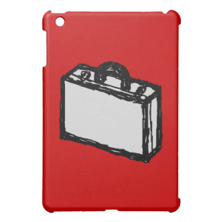 Office Brief or Travel Suitcase. Sketch on Red iPad Mini Cover