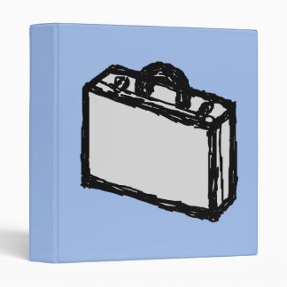 Office Briefcase or Travel Suitcase Sketch. Blue. 3 Ring Binder
