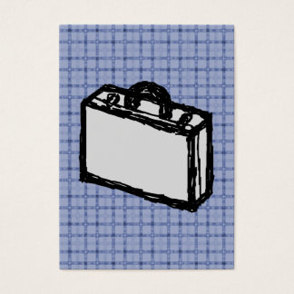 Office Briefcase or Travel Suitcase Sketch. Blue. Business Card