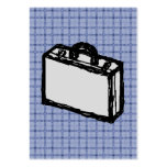 Office Briefcase or Travel Suitcase Sketch. Blue. Business Card Templates