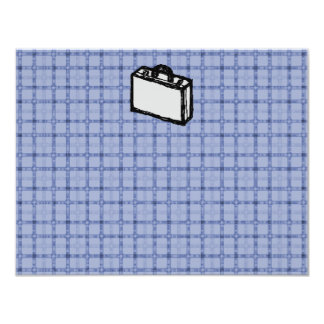 Office Briefcase or Travel Suitcase Sketch. Blue. Card