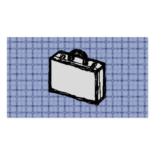 Office Briefcase or Travel Suitcase Sketch. Blue. Double-Sided Standard Business Cards (Pack Of 100)