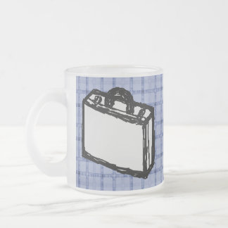 Office Briefcase or Travel Suitcase Sketch. Blue. Frosted Glass Coffee Mug
