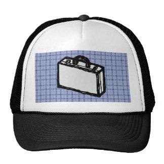 Office Briefcase or Travel Suitcase Sketch. Blue. Trucker Hat