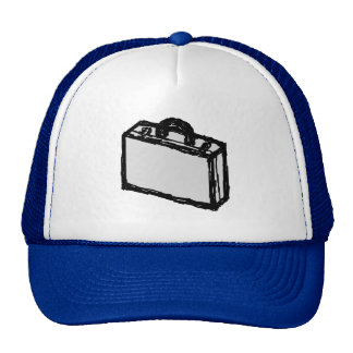 Office Briefcase or Travel Suitcase Sketch. Blue. Hat
