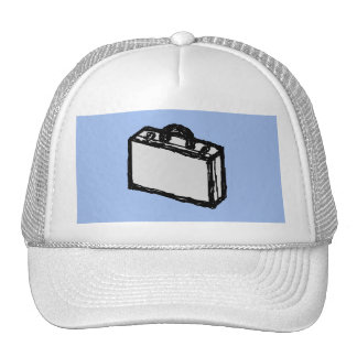 Office Briefcase or Travel Suitcase Sketch. Blue. Mesh Hats