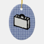 Office Briefcase or Travel Suitcase Sketch. Blue. Christmas Ornaments