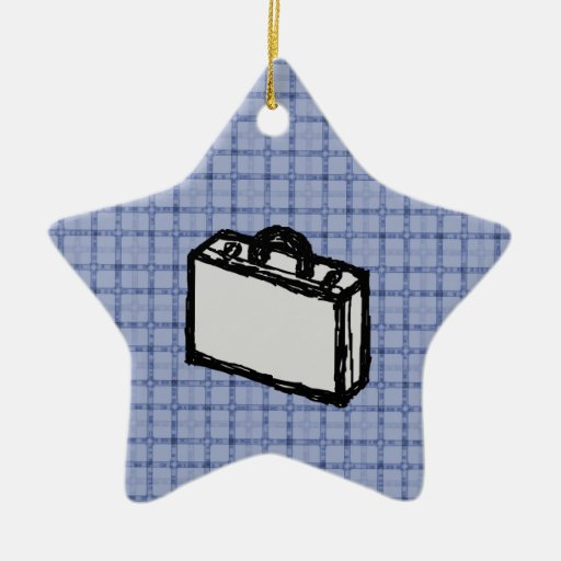 Office Briefcase or Travel Suitcase Sketch. Blue. Christmas Tree Ornaments