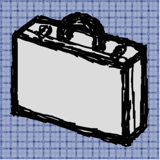 Office Briefcase or Travel Suitcase Sketch. Blue. Photo Cutout