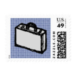 Office Briefcase or Travel Suitcase Sketch. Blue. Postage Stamps