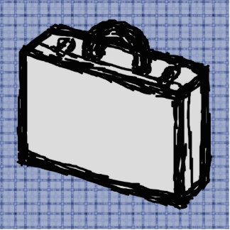 Office Briefcase or Travel Suitcase Sketch. Blue. Statuette