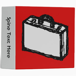 Office Briefcase or Travel Suitcase. Sketch on Red 3 Ring Binder