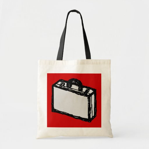 Office Briefcase or Travel Suitcase. Sketch on Red Canvas Bag