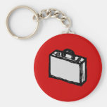 Office Briefcase or Travel Suitcase. Sketch on Red Basic Round Button Keychain