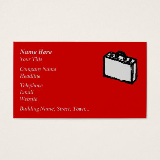 Office Briefcase or Travel Suitcase. Sketch on Red Business Card