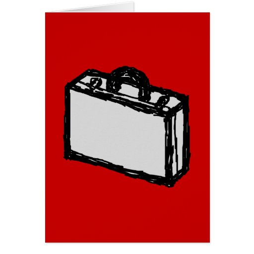 Office Briefcase or Travel Suitcase. Sketch on Red Card