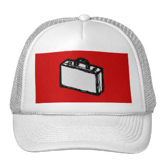 Office Briefcase or Travel Suitcase. Sketch on Red Mesh Hats