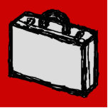 Office Briefcase or Travel Suitcase. Sketch on Red Cut Outs