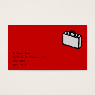 Office Briefcase or Travel Suitcase. Sketch. Red Business Card