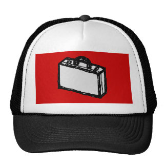 Office Briefcase or Travel Suitcase. Sketch. Red Trucker Hat