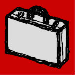 Office Briefcase or Travel Suitcase. Sketch. Red Photo Sculptures
