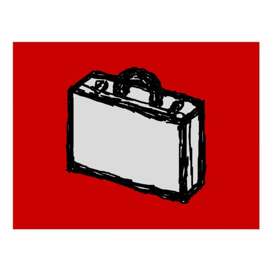 Office Briefcase or Travel Suitcase. Sketch. Red Postcard