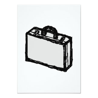 Office Briefcase or Travellers Suitcase. Sketch. Card