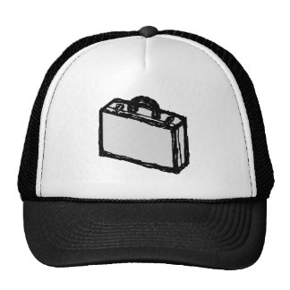 Office Briefcase or Travellers Suitcase. Sketch. Trucker Hat
