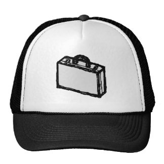 Office Briefcase or Travellers Suitcase. Sketch. Hat