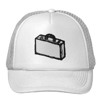 Office Briefcase or Travellers Suitcase. Sketch. Hats