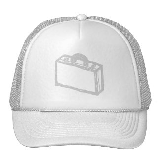 Office Briefcase or Travellers Suitcase. Sketch. Mesh Hat
